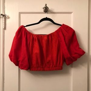 Zara off the shoulder crop top